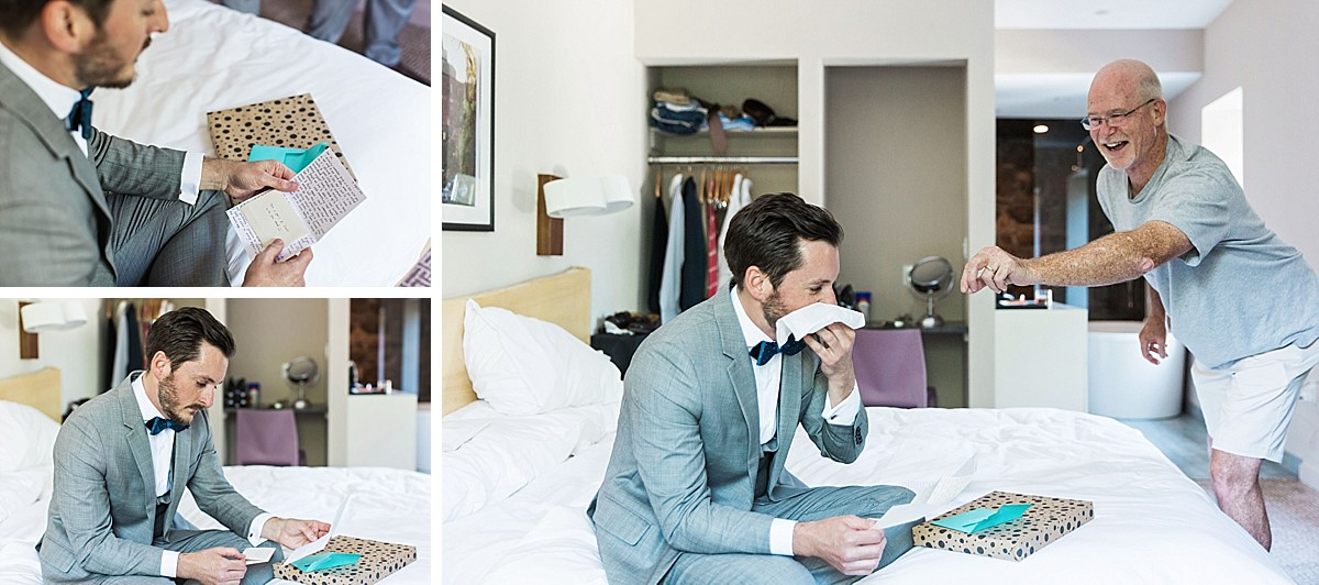 Candid pictures of groom opening brides gift, by Clean Plate Pictures, Hudson Valley wedding photographer.