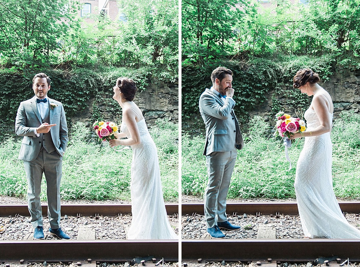 Candid first look pictures on the train tracks in Beacon, Hudson Valley, NY, photographed by Clean Plate Pictures