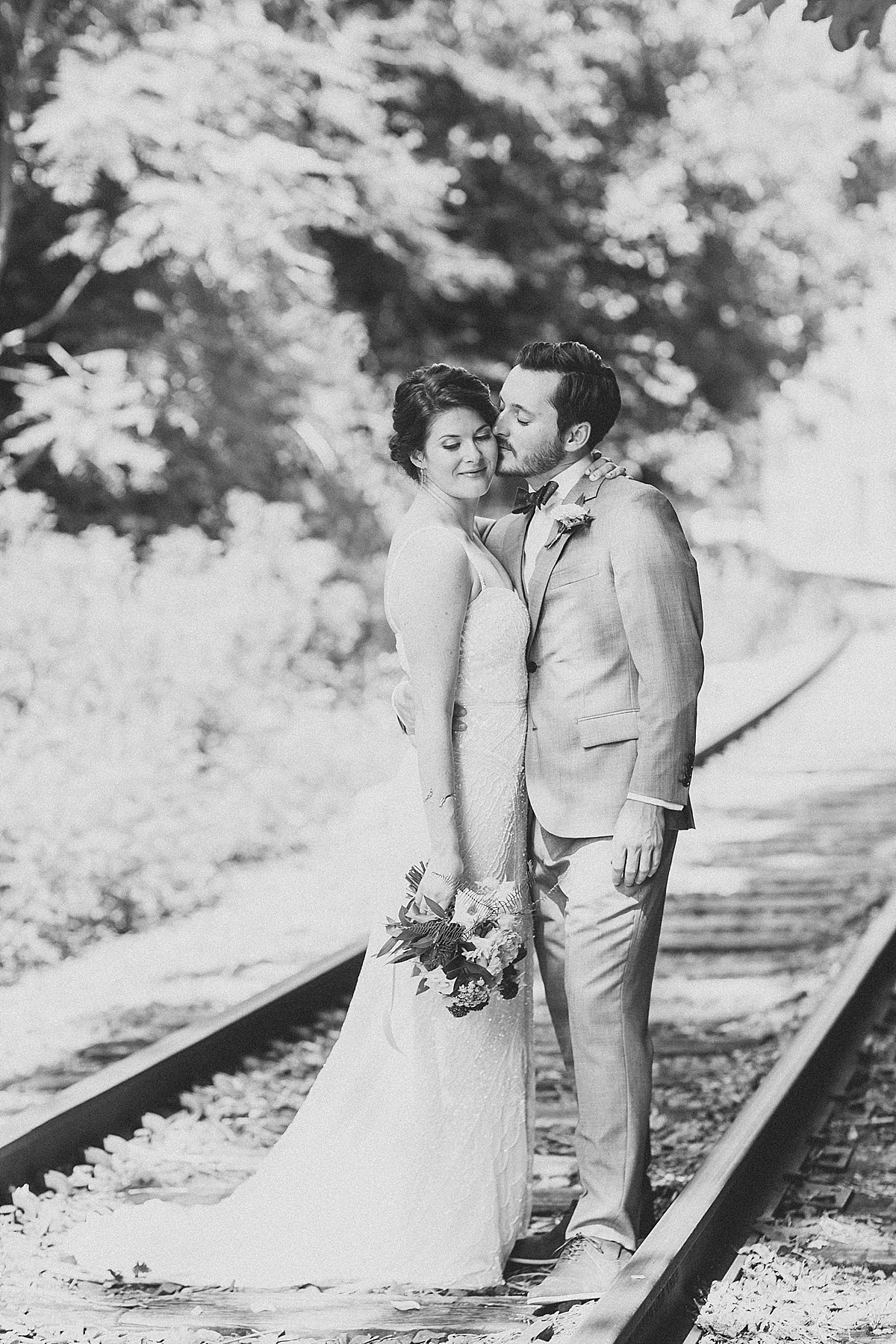 Black and White wedding portraits in Beacon Falls, NY photographed by Clean Plate Pictures.