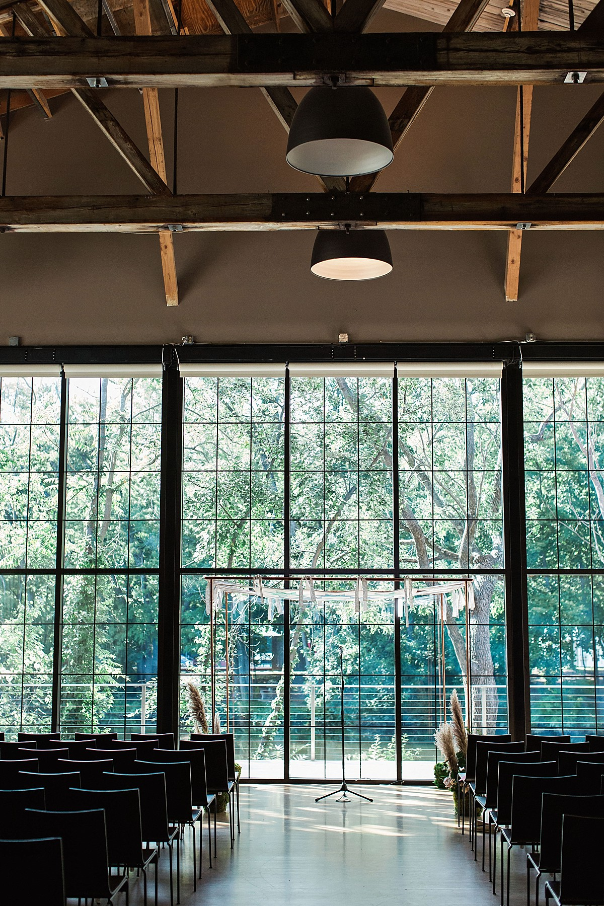 Ceremony space at the Roundhouse in Beacon, NY by Clean Plate Pictures, Hudson Valley Wedding photographer.