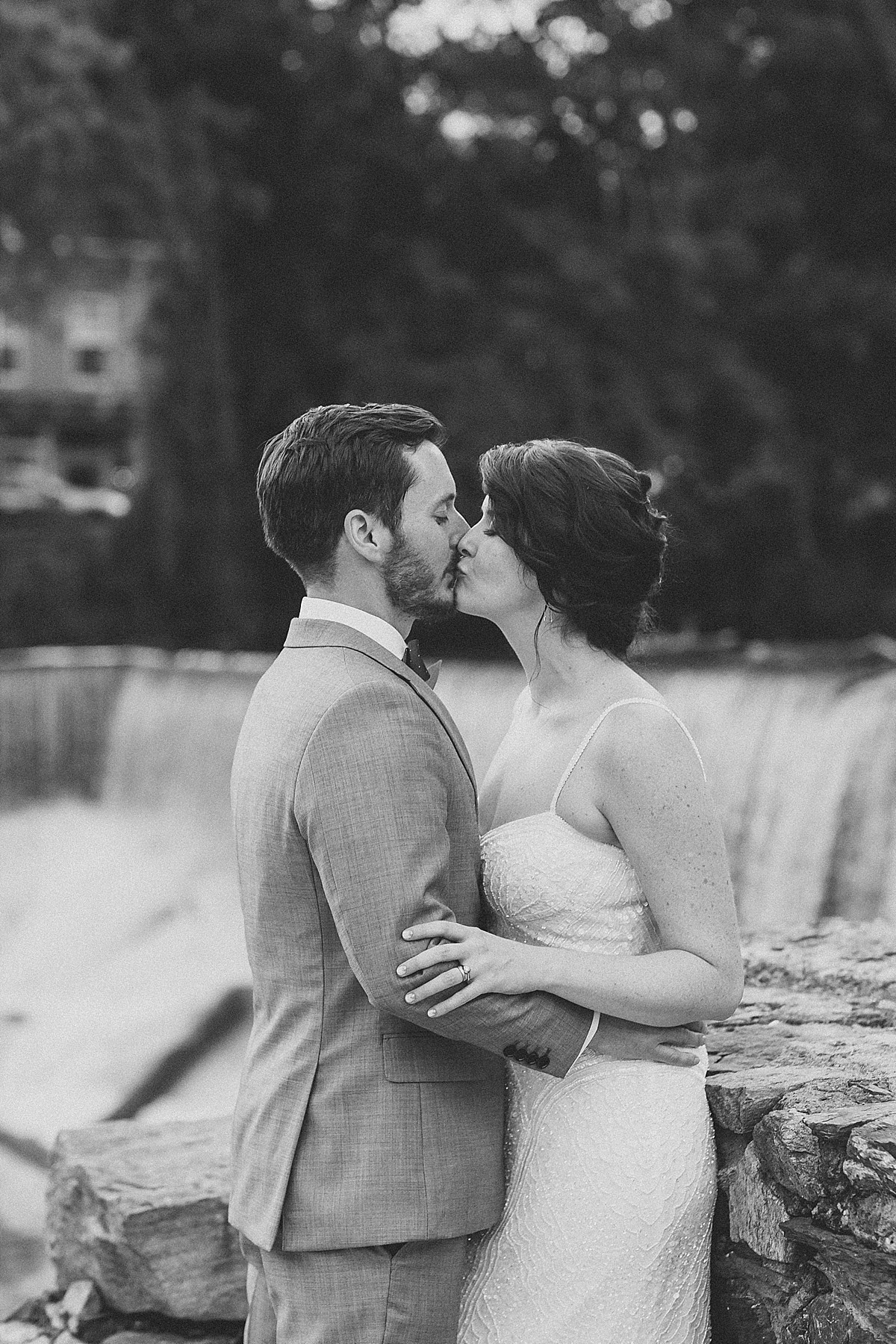 Couples wedding portraits at Beacon Falls, by Clean Plate Pictures, Hudson Valley wedding photographer.