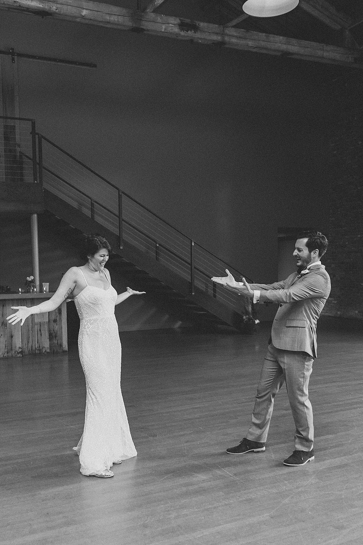 Awesome wedding first dance photography at the Roundhouse, Beacon, NY by Clean Plate Pictures, Hudson Valley wedding photographer