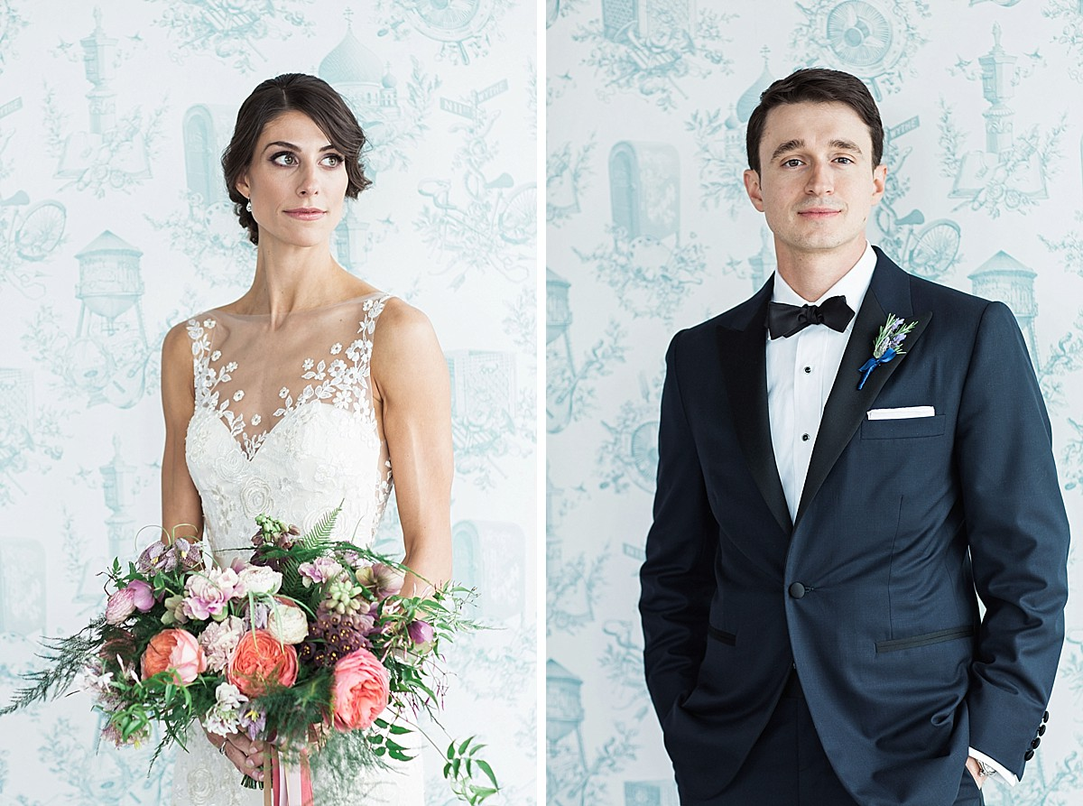 Wedding photos with Wythe Hotel wallpaper in Brooklyn, NY, by Clean Plate Pictures, Brooklyn Wedding Photographer