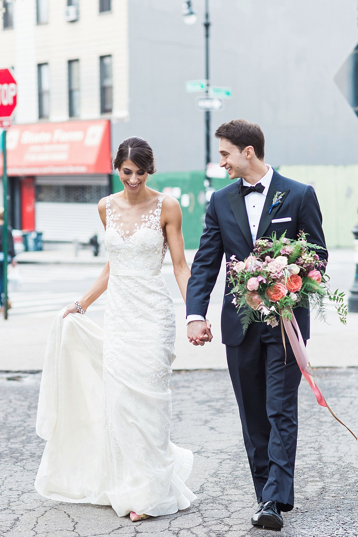 Street wedding photography in Williamsburg, NY by Clean Plate Pictures, Brooklyn Wedding Photographer