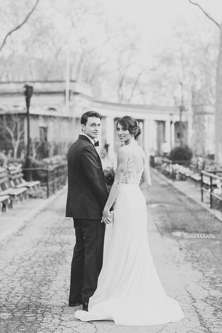 Black and white couples portraits in McGolrick Park, Williamsburg, by Clean Plate Pictures, Brooklyn Wedding Photographer