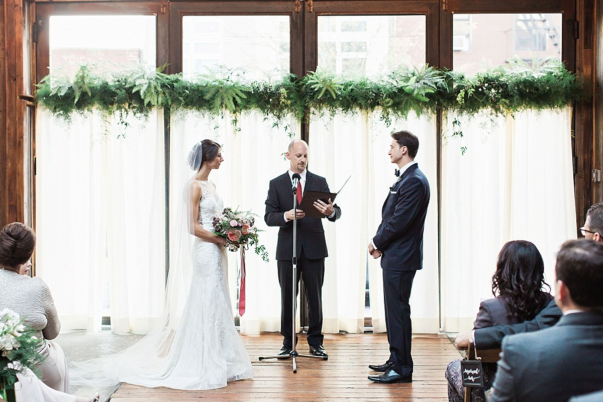 Authentic, candid ceremony photography at the Brooklyn Winery in Williamsburg, by Clean Plate Pictures, Brooklyn wedding photographer.