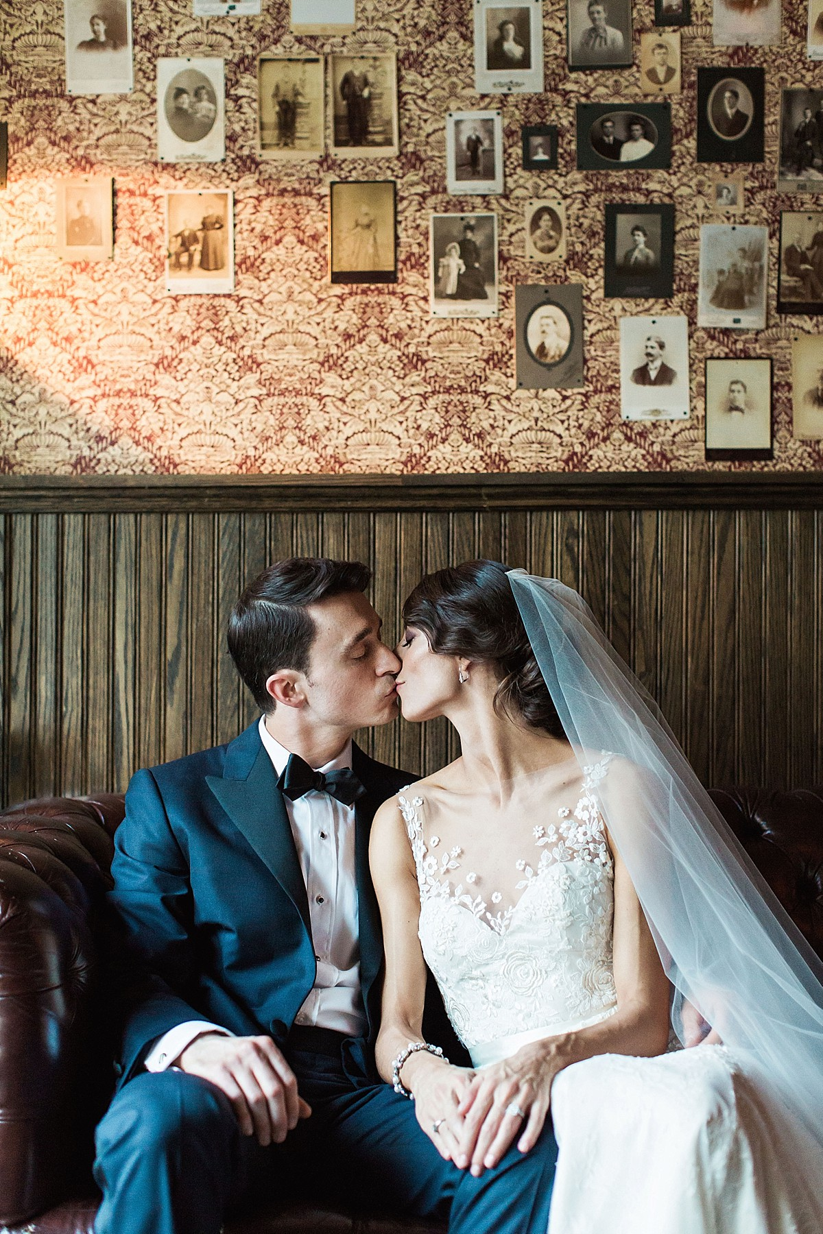 Couples portraits in the Brooklyn Winery portraits room by Clean Plate Pictures, Brooklyn Winery Wedding Photographer