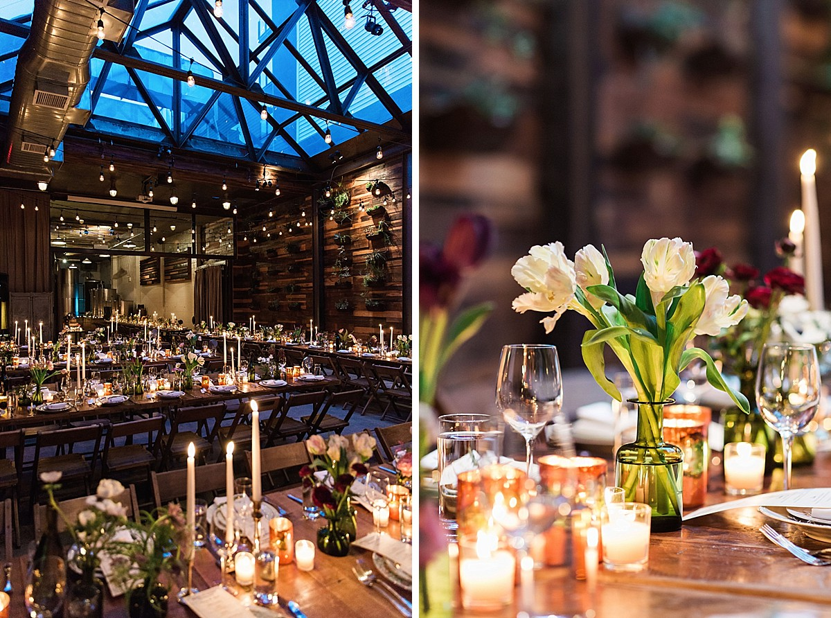 Brooklyn Winery wedding reception tablescape detail pictures by Clean Plate Pictures, Brooklyn Wedding Photographer