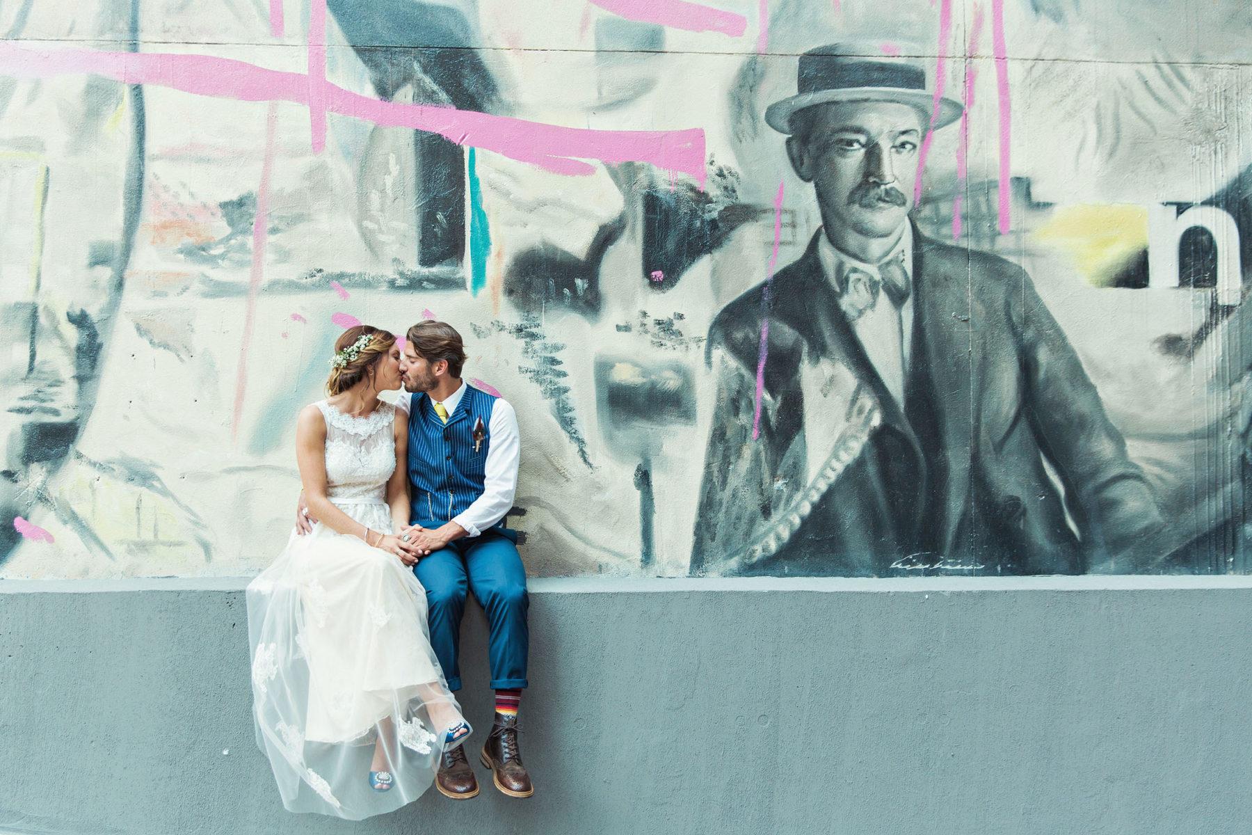 Brooklyn Street Art Wedding Portraits - Rad Brooklyn Wedding Photography