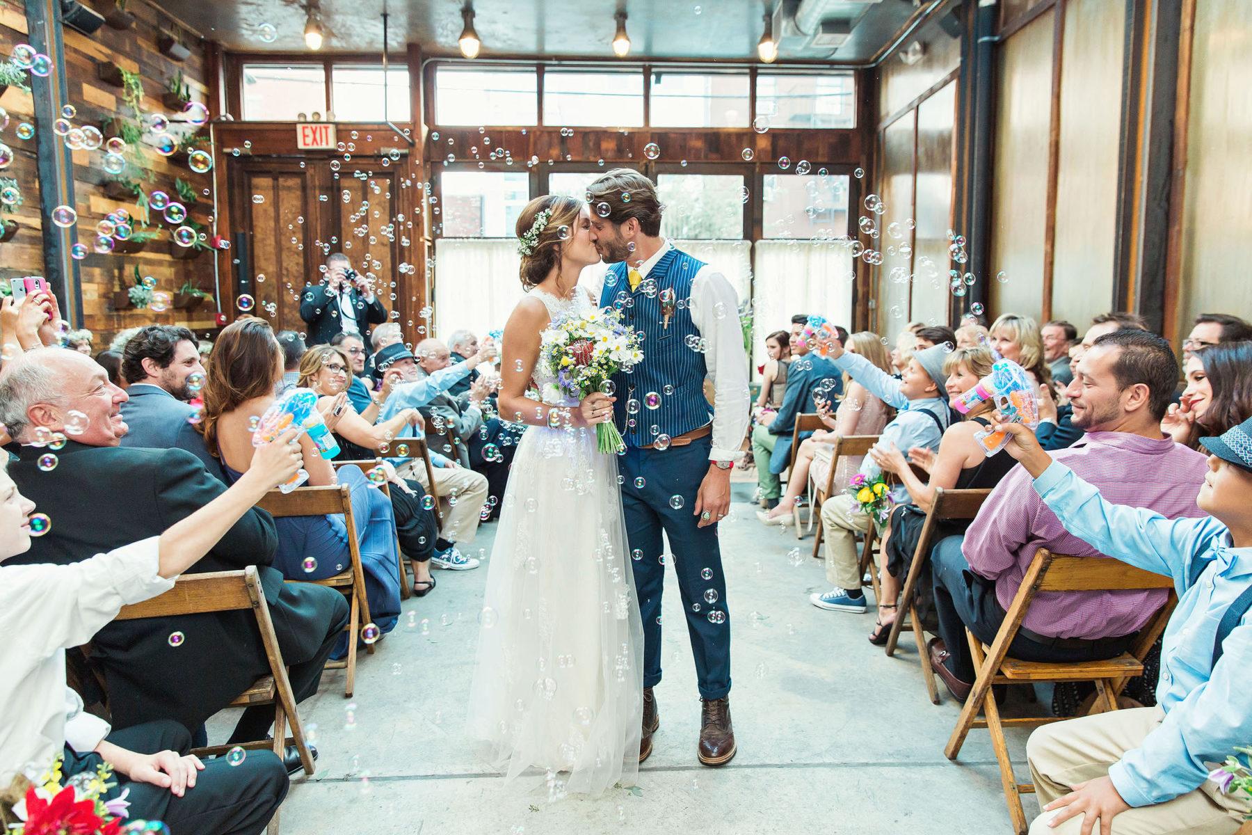 Wedding Recessional Bubbles - Brooklyn Winery Wedding Photos