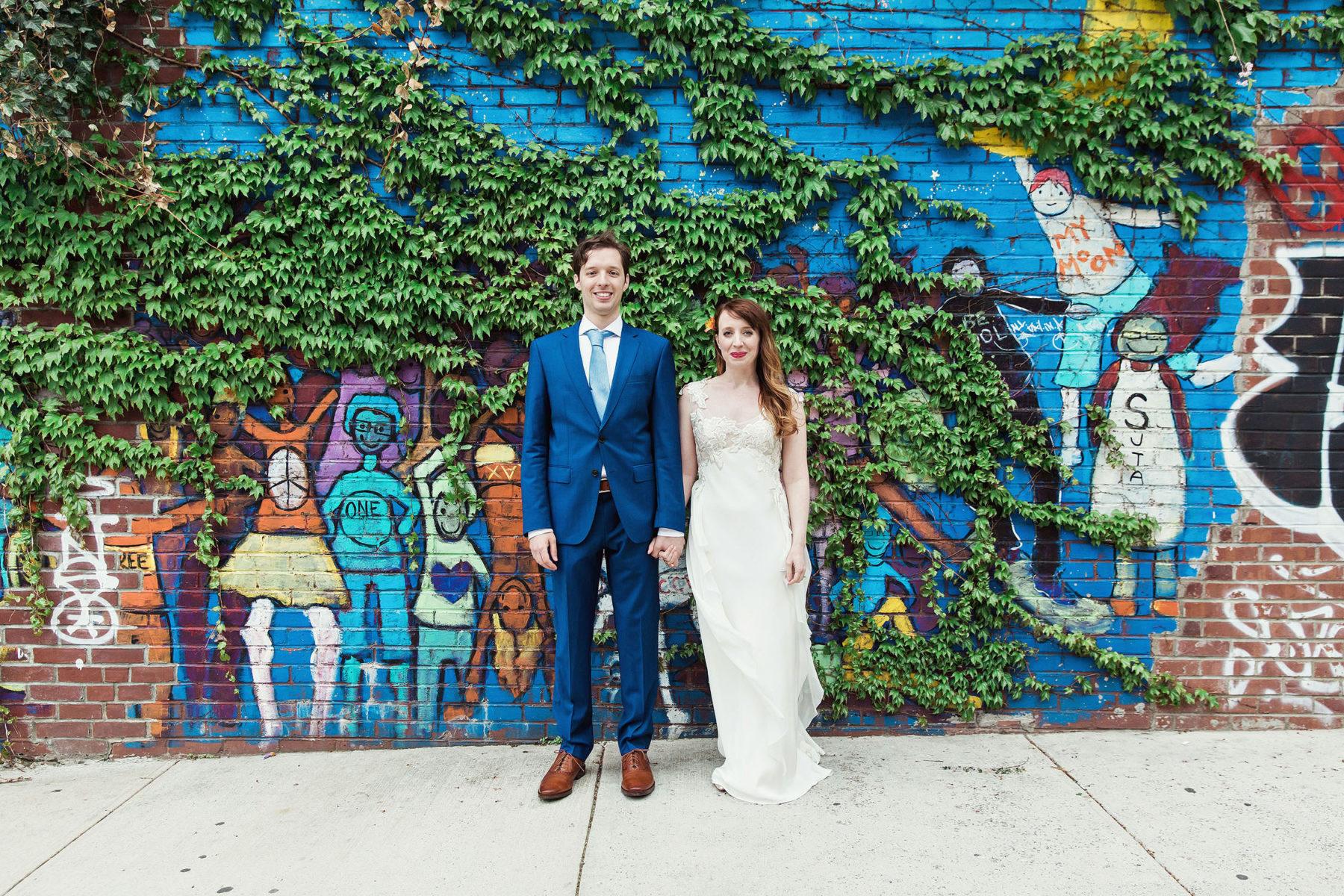 Brooklyn Street Art Wedding Portraits - Best Williamsburg Wedding Photographers